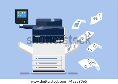 Office professional multi-function printer scanner. Isolated flat illustration