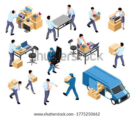Office relocation isometric set with moving company furniture equipment packing documents loading boxes into van vector illustration  Сток-фото ©