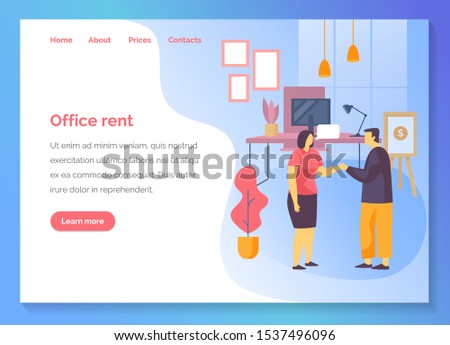 Office rent service website template, business property rental and commercial real estate agency web banner. Company office and coworking space search and rent in business center, vector flat design