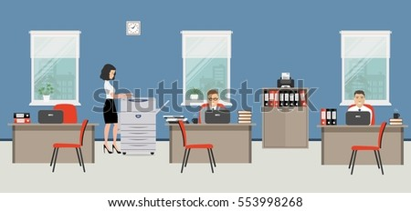 office room in a blue color