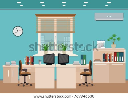 Office room interior including two work spaces with cityscape outside window. Workplace organization in business office. Flat style vector illustration.
