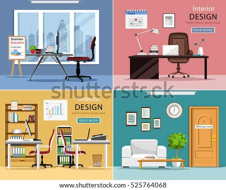 office rooms set detailed