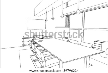 Office's interior vector drawing/sketch