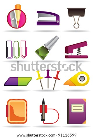 Office school and education bookstore tools - vector illustration
