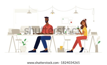 Office social distance, work and workplace safety, vector flat. Colleagues people sitting through one, coronavirus covid corporate social distance and health safety, virus new normal reality rules