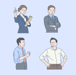 Office staff in various poses. hand drawn style vector design illustrations.