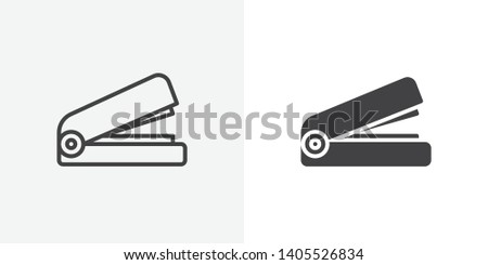 Office stapler icon. line and glyph version, Stapler outline and filled vector sign. linear and full pictogram. Symbol, logo illustration. Different style icons set