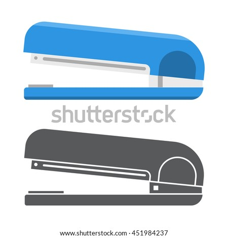 Office stapler illustration in flat design and outline style. Stationery icon for web and applications.