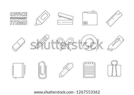 Office stationary items. Desk folder papers pencil pen stapler felt pen gadgets for managers help work vector thin line icons