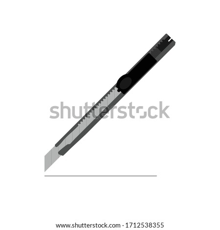 Office stationery knife. Cutter knife icon. cutter vector on White Background ストックフォト ©