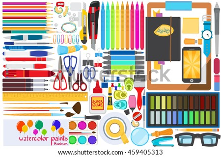 Office stationery set of vector graphic. Pencils, pens, markers, paints, scissors.