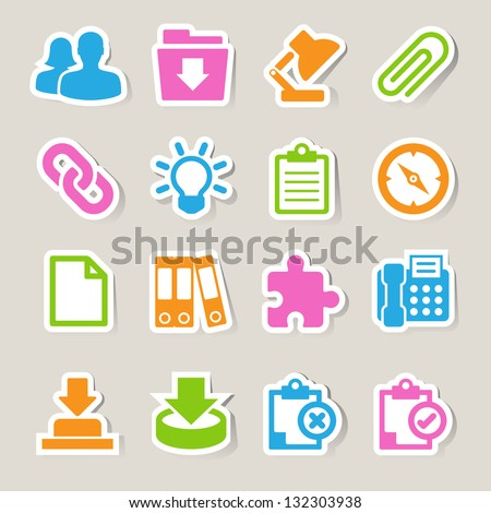Office sticker icons set. Illustration eps 10