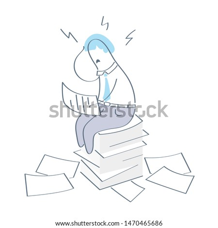 Office stress, overwork, overload with paper work, report or education concept. Cute shocked cartoon character sitting on the pile with paper docs. Flat outline trendy design vector ui icon on white.