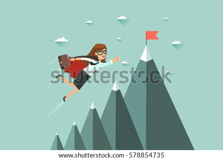 Office superwoman flying to achieve her goal. Leadership concept. Mountains with red flag on the top, sky and clouds on background. Colorful vector illustration in flat design