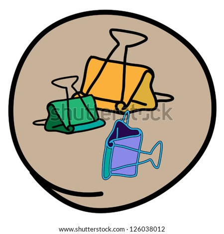 Office Supplies, A Cartoon Illustration of Green Yellow and Purple Color of Binder Clip Icon in Beown Circle Frame