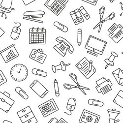 Office supplies seamless pattern. Tiling textures with thin line black and white icons set