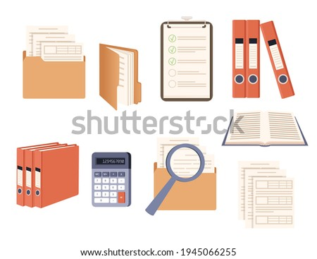Office supplies set hard cardboard folders with iron rings office folders envelopes scrapbook accessories vector illustration on white background Foto stock ©