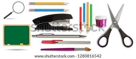 Office Supplies Stationery Set, Blackboard, Chalk, Sponge, Paint Brush, Gouache, Pen, Mechanical and Wooden Colour Pencils, Rubber Eraser, Loupe, Stapler, Scissors, Realistic Vector 3D Illustration