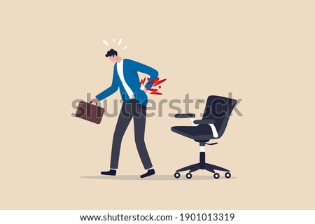 Office syndrome back pain, sitting and work too long causing back ache or inflammation of neck, shoulder and back muscles concept, painful office worker holding his back pain with office chair.