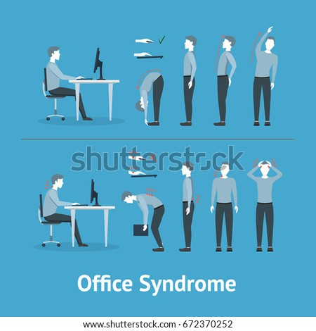 Office Syndrome Correct or Incorrect Positions for Exercises in Gymnastics. Health Care Concept on a Blue Background. Vector illustration