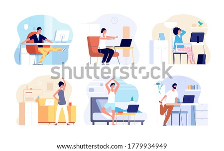 Office syndrome. Stretching exercise, neck back shoulder stretch. Sitting work from home, fitness workout for freelancer vector illustration