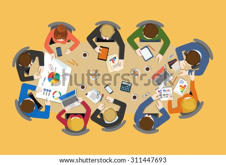 Office table top view business flat web infographic concept vector. Staff around table report analytics working tablet laptop empty background. Brainstorm report planning. Creative people collection.