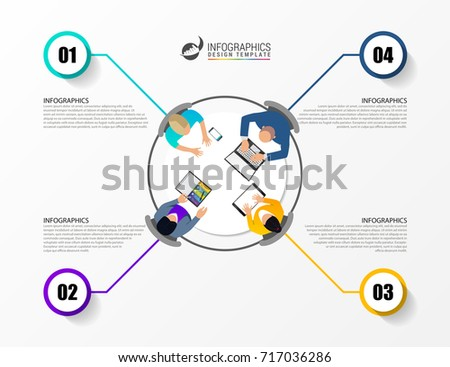 Office table top view business meeting. Infographic concept. Vector illustration