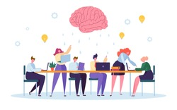 Office Team Character Brainstorm Work Conference. Business People Group Meeting at Desk Laptop with Brain Symbol above. Corporate Project Creative Teamwork Flat Cartoon Vector Illustration