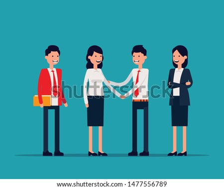 Office team Shaking hans or success agreement. Vector illustration business office concept, Familiarize, Introduce, Happy flat cartoon character design.  Stock photo ©