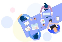 Office teamwork workers business management meeting and brainstorming on table in top view flat design cartoon style
