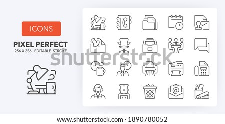 Office thin line icon set. Outline symbol collection. Editable vector stroke. 256x256 Pixel Perfect scalable to 128px, 64px... Foto stock ©
