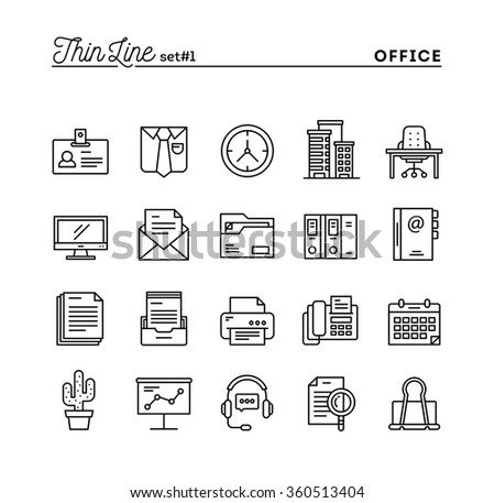 Office things, thin line icons set, vector illustration