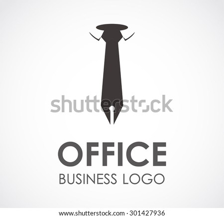 Office tie pen business abstract vector logo design template professional company icon corporate consultant symbol concept #301427936