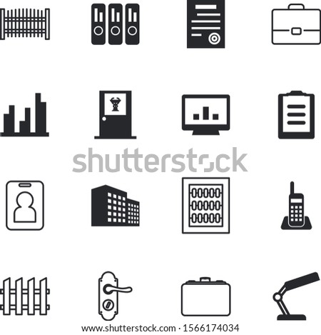 office vector icon set such as: internet, mathematics, personal, radio, mathematical, structure, lamp, electric, agreement, financial, id, department, pc, clipboard, pass, board, task, treatment