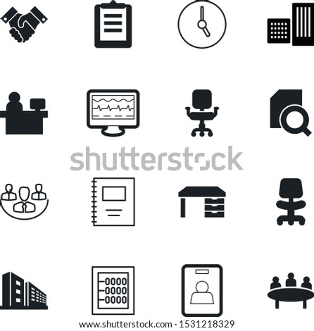 office vector icon set such as: mathematics, plastic, school, buildings, back, calculation, task, membership, community, deadline, timer, tag, factory, texture, abstract, mathematical, deal, name