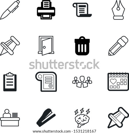 office vector icon set such as: set, recycling, storming, printer, binder, partnership, holiday, table, clean, pencil, file, doodle, home, date, digital, editable, creativity, entrance, group
