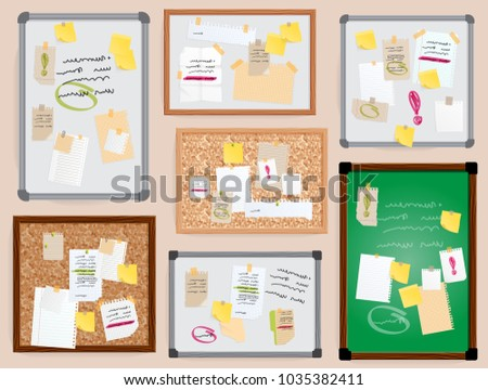 Office wall board pined stickers vector to-do planner pined on board illustration isolated officeplace stikers with bisiness notes text. Yellow, white paper message notebook sheet