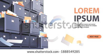 office wall of filing cabinet with open card catalog and flying documents data archive storage business administration concept copy space horizontal vector illustration Stockfoto ©