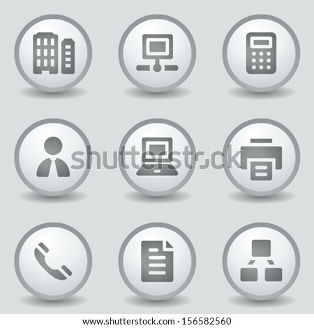 Office web icons, grey circle buttons