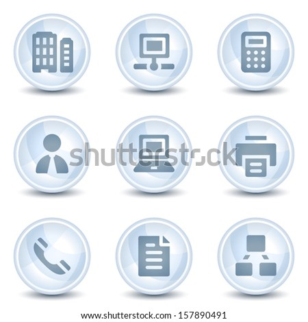 Office web icons, light blue glossy circle  buttons