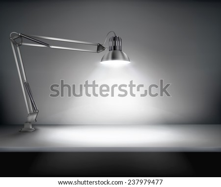 office with a desk lamp vector