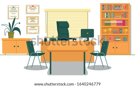 Office with Necessary Furnishing and Computer on Desk. School Principals Working Place. Table and Two Chairs for Visitors, Teachers, Parents and Students. Shelving with Folders and Gold Champion Cups. ストックフォト ©