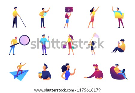 Office work and leisure time set. Businessman and manager, developer, vlogger, woman with net, perogrammer with magnifier, shopper, coffee break. Vector illustrations set isolated on white background.
