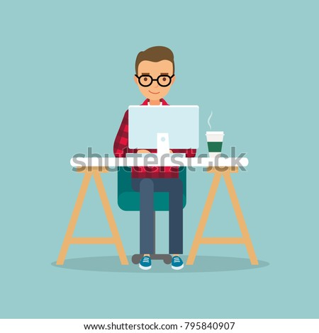 Office work and remote work, freelance. Young man working on computer. Vector illustration in flat style.