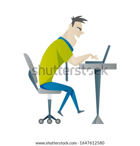 Office work and remote work, freelance. Young man working on laptop. Vector illustration in flat style.