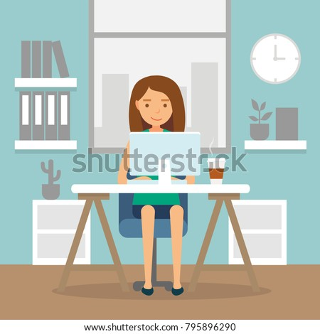 Office work and remote work, freelancing. Young woman working on computer. Vector illustration in flat style.