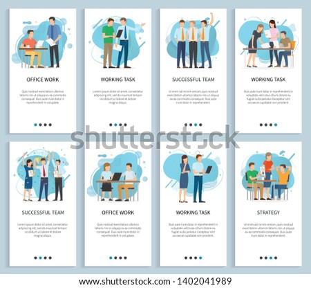 Office work and successful team vector, people achieving business achievements and success, brainstorming teamwork meeting and gathering, team in new startup. Website or slider app