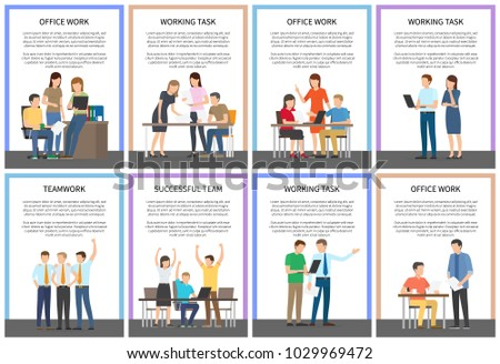 Office work and working task, teamwork and successful team, collection of posters with people doing their job, text and headines vector illustration