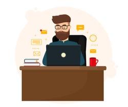 Office work concept. Man working on laptop. Vector illustration design.