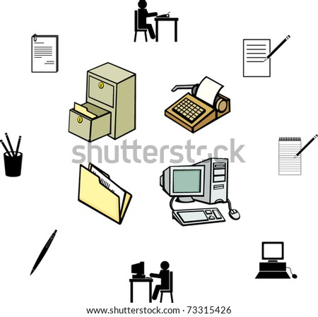 office work illustrations and symbols